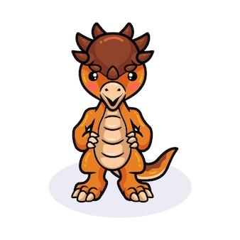 Lindo pequeño dinosaurio pachycephalosaurus de pie de dibujos animados