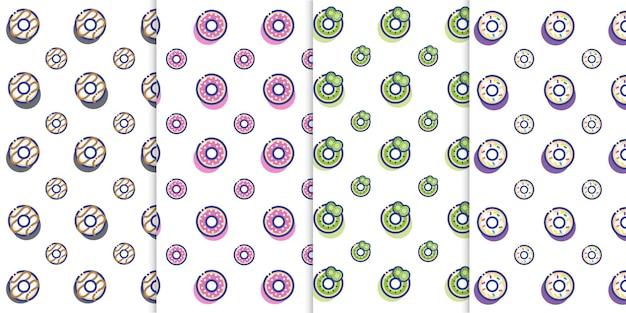 Lindo pequeño donut icono postre de patrones sin fisuras vector donut panadería sabroso y dulce vector gratuito
