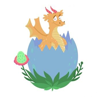 Lindo pequeño dragón que sale de un huevo