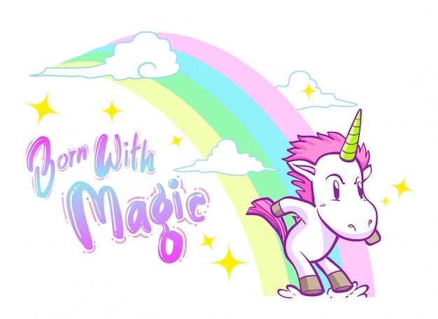 Lindo pequeño fondo unicornio
