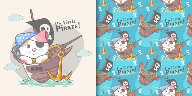Lindo pequeño gato pirata sin fisuras patrón y tarjeta de ilustración
