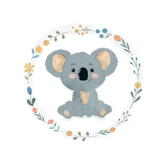 Lindo pequeño koala en una corona de flores