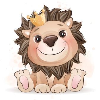 Lindo pequeño león con efecto acuarela