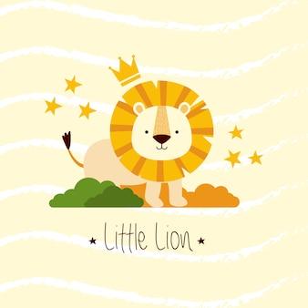 Lindo pequeño león en el monte
