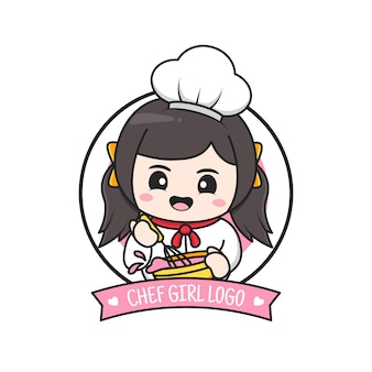 Lindo pequeño logo de niña chef gordita