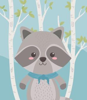 Lindo y pequeño mapache en el campo