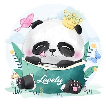 Lindo pequeño panda con mariposas