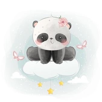 Lindo pequeño panda sentado en la nube