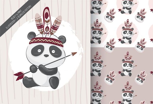 Lindo pequeño panda tribal con patrones sin fisuras