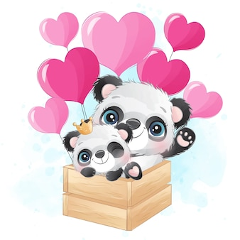 Lindo pequeño panda volando con globo