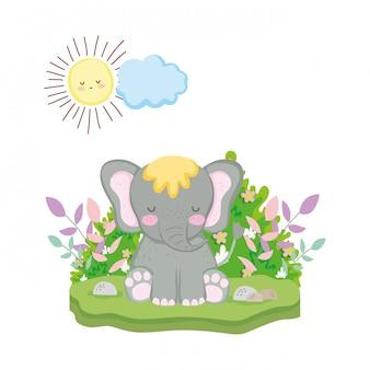 Lindo y pequeño personaje de elefante.