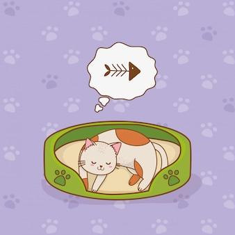 Lindo pequeño personaje de mascota gatito