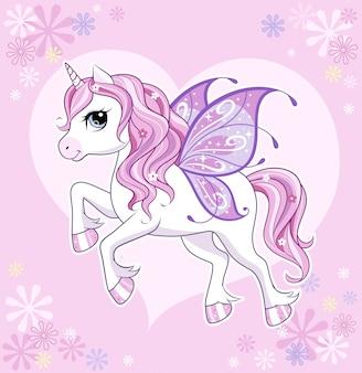 Lindo y pequeño personaje de unicornio con alas de mariposa sobre rosa