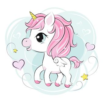 Lindo pequeño personaje de unicornio en menta