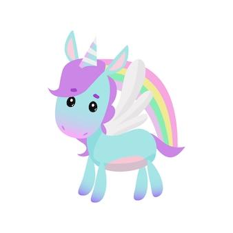 Lindo pequeño unicornio y arco iris