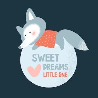 Lindo pequeño zorro duerme en la luna