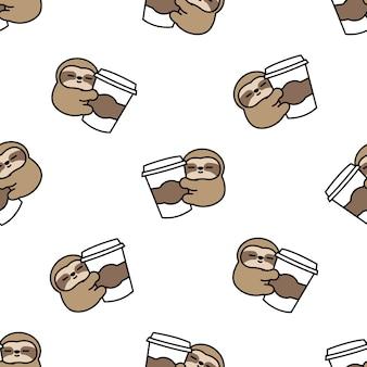 Lindo perezoso ama patrón transparente de dibujos animados de café