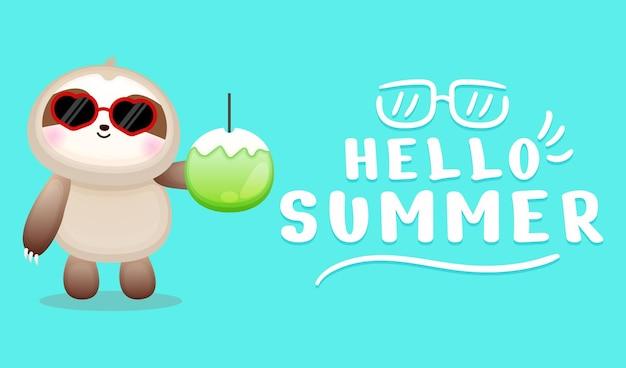 Lindo perezoso con banner de saludo de verano