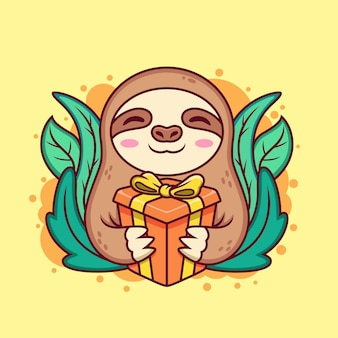 Lindo perezoso con caja de regalo. ilustración del icono de dibujos animados. concepto de icono animal sobre fondo amarillo