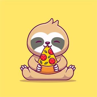 Lindo perezoso comiendo pizza icono de dibujos animados ilustración.