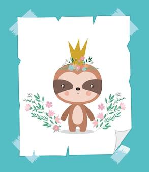 Lindo perezoso con corona