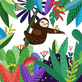 Lindo perezoso divertido en dibujos animados de bosque colorido.