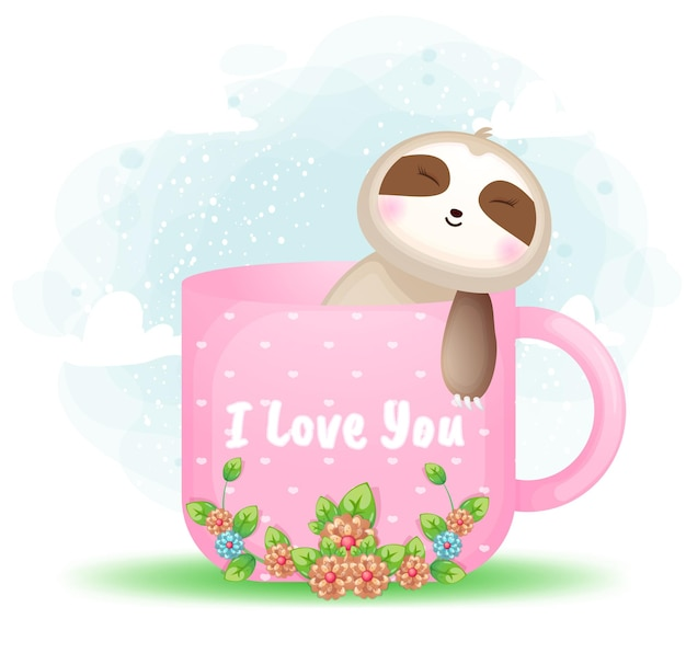 Lindo perezoso doodle acostado y relajarse en la ilustración de dibujos animados de taza