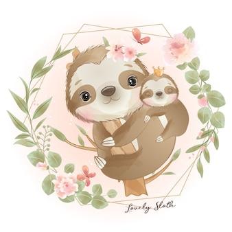 Lindo perezoso doodle con ilustración floral