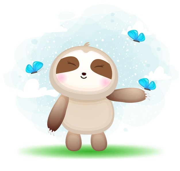 Lindo perezoso doodle jugando con mariposa en el personaje de dibujos animados de hierba