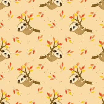 Lindo perezoso en otoño hojas de patrones sin fisuras