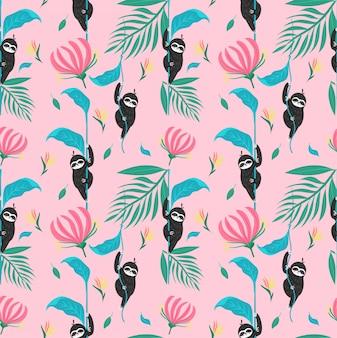 Lindo perezoso con patrones sin fisuras de plantas de la selva tropical
