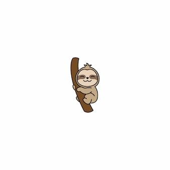 Lindo perezoso sonriendo en un icono de dibujos animados de rama