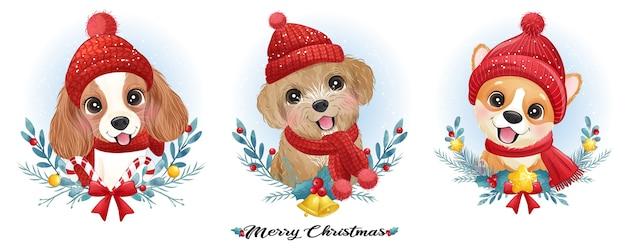 Lindo perrito doodle para navidad con ilustración acuarela