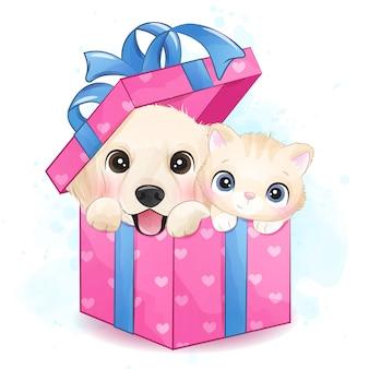 Lindo perrito y gatito sentado dentro de la ilustración de caja de regalo
