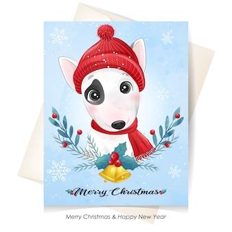 Lindo perrito para navidad con ilustración acuarela