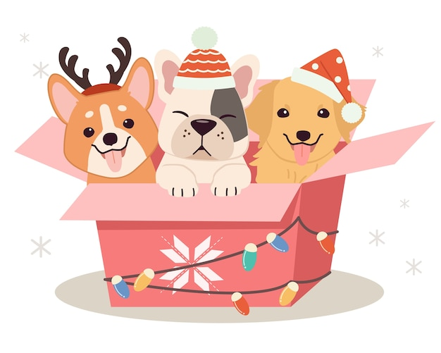 Lindo perro y amigos sentados en la caja de regalo