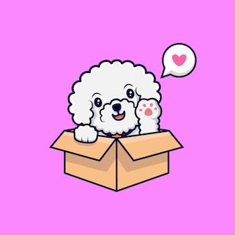 Lindo perro bichon frise agitando las patas dentro de una ilustración de icono de dibujos animados de caja