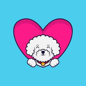 Lindo perro bichon frise agitando las patas dentro de la ilustración del icono de dibujos animados de corazón