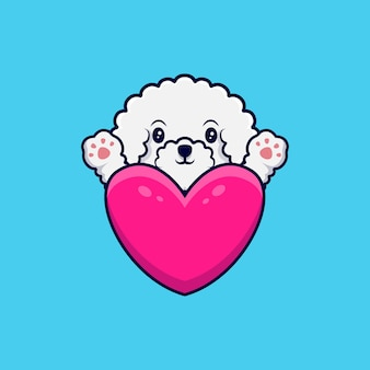 Lindo perro bichon frise agitando las patas detrás de una ilustración de icono de dibujos animados de gran corazón