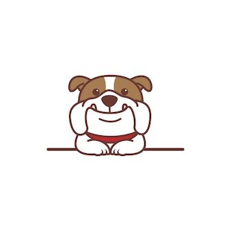 Lindo perro bulldog sonriendo sobre dibujos animados de pared