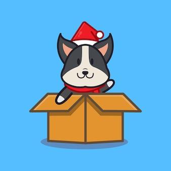 Lindo perro en caja. concepto animal aislado. estilo de dibujos animados plana