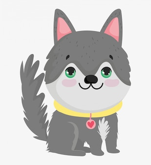 Lindo perro con collar animal doméstico de dibujos animados, ilustración de mascotas