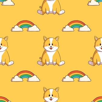 Lindo perro corgi y arco iris de patrones sin fisuras con estilo doodle sobre fondo amarillo