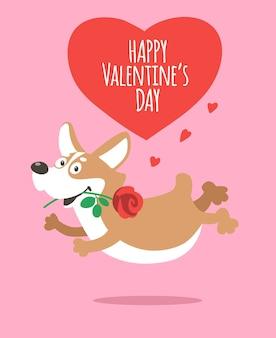 Un lindo perro corgi corre con una rosa en la boca. tarjeta de dibujos animados feliz día de san valentín