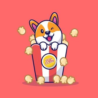 Lindo perro corgi con dibujos animados de palomitas de maíz