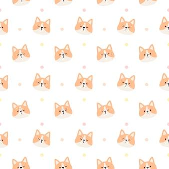Lindo perro corgi sin fisuras patrón repetitivo, papel tapiz, lindo fondo transparente