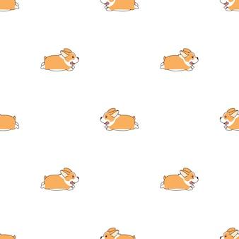 Lindo perro corgi galés corriendo de dibujos animados de patrones sin fisuras