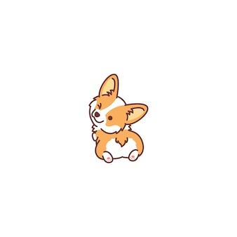 Lindo perro corgi mirando hacia atrás y guiñando el icono