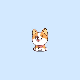 Lindo perro corgi sentado y sonriente vector de dibujos animados