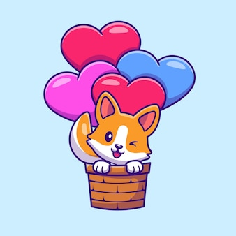 Lindo perro corgi volando con dibujos animados de globos de amor